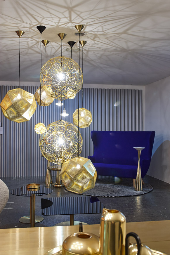 Tom Dixon Yesterday, Today, Tomorrow exhibition at 10 Corso Como Seoul featuring brass Etch and Etch Web pendants, Flash tables and Wingback sofa.
