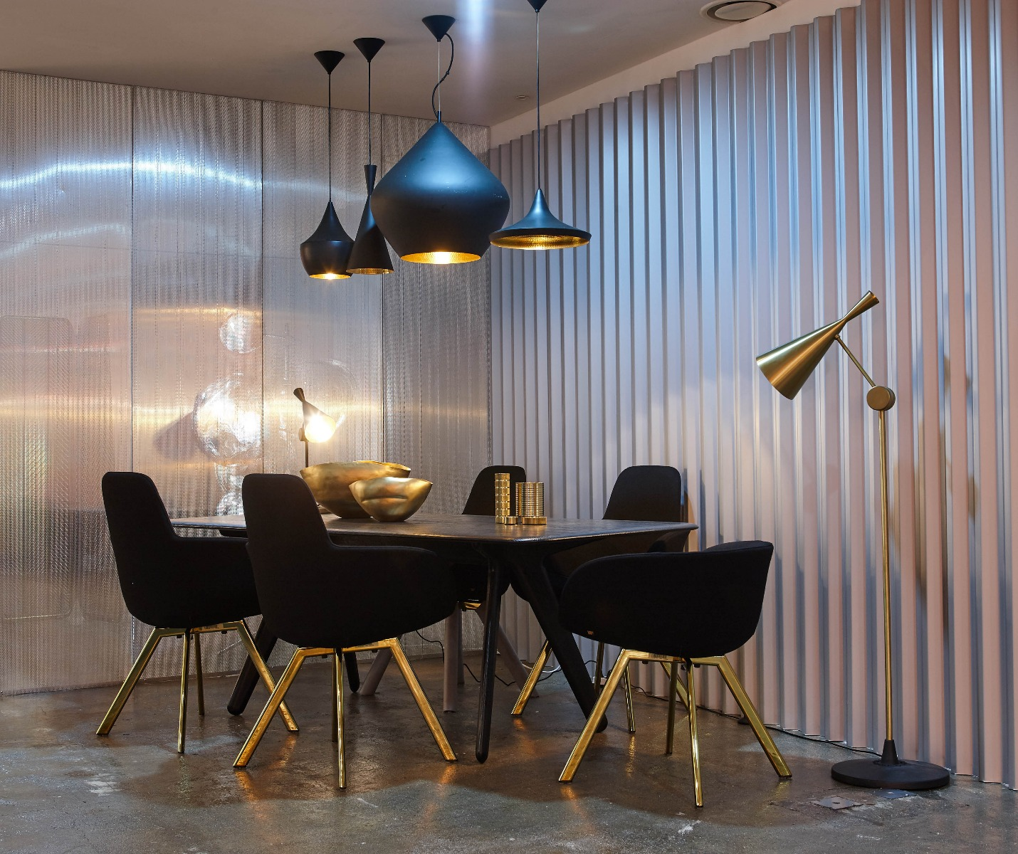 Tom Dixon Yesterday, Today, Tomorrow exhibition at 10 Corso Como Seoul featuring Slab dining table, Scoop High Back dining chairs, Beat pendants and floor light.