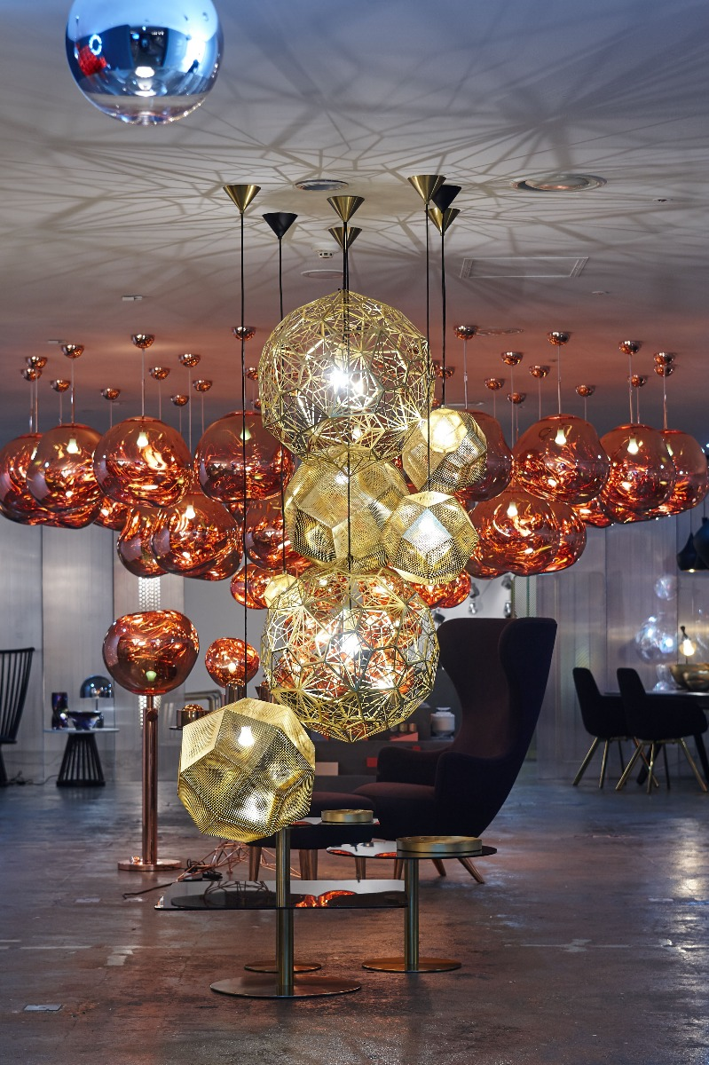 Tom Dixon Yesterday, Today, Tomorrow exhibition at 10 Corso Como Seoul, featuring a cluster of Melt pendants, and a brass Etch and Etch Web pendant installation.