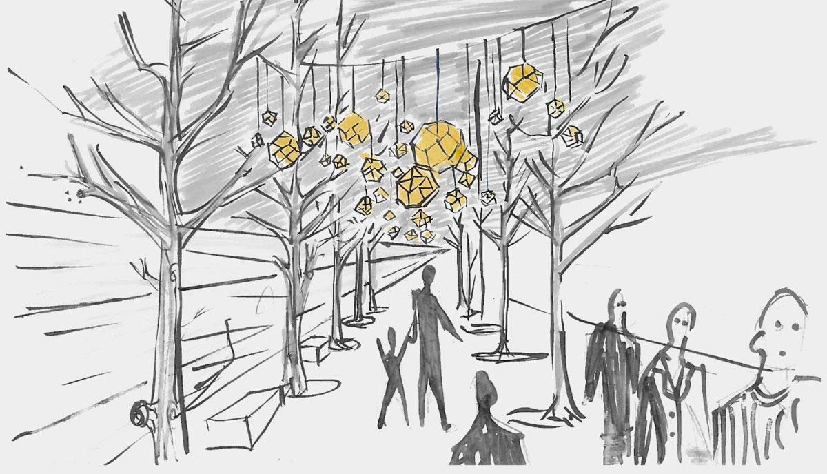 Tom Dixon Winter Lights at Television Centre original sketch concept