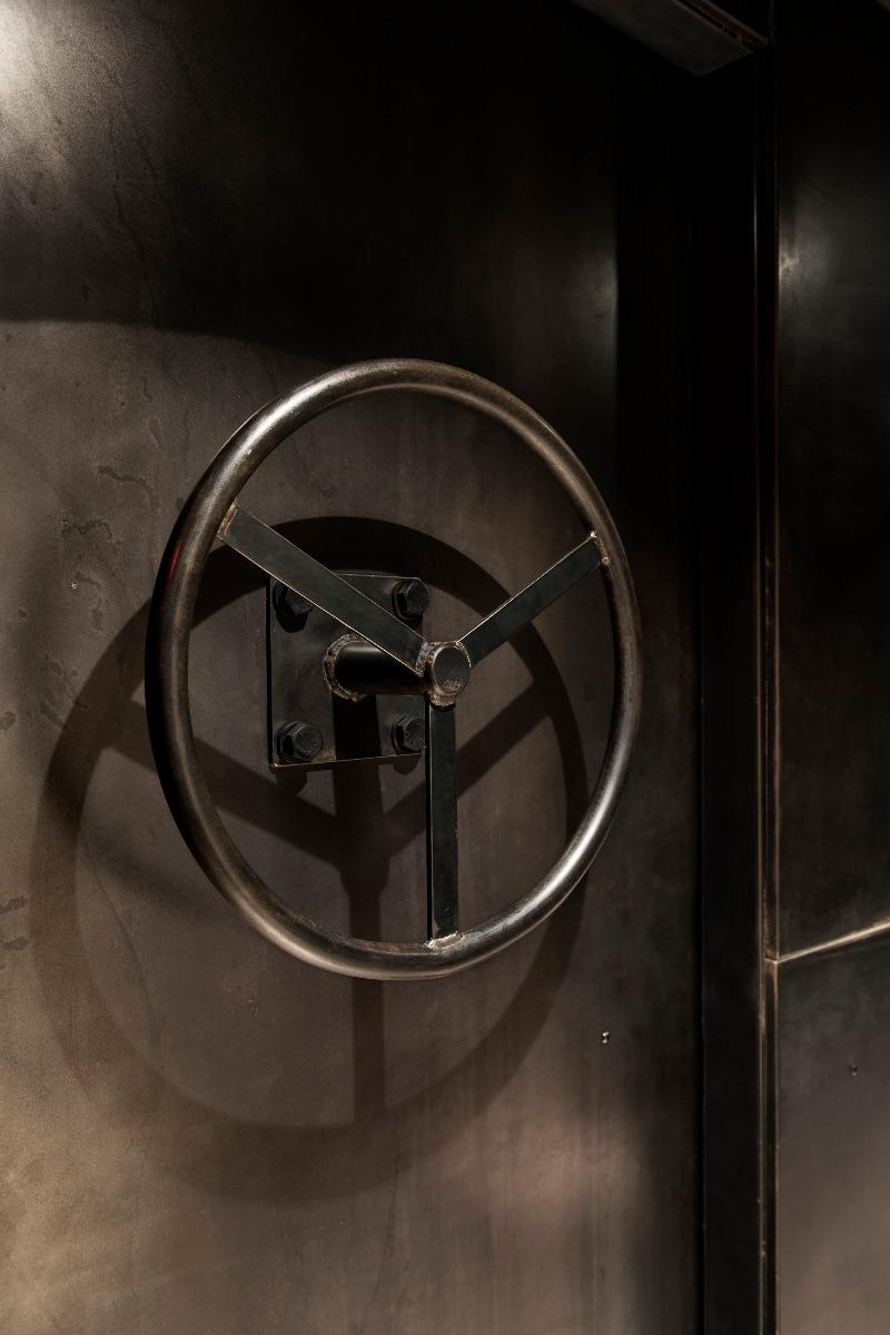 Concrete and metal details of the Tom Dixon designed Himitsu Bar in Atlanta, USA.